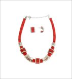 Necklace & Earrings Red