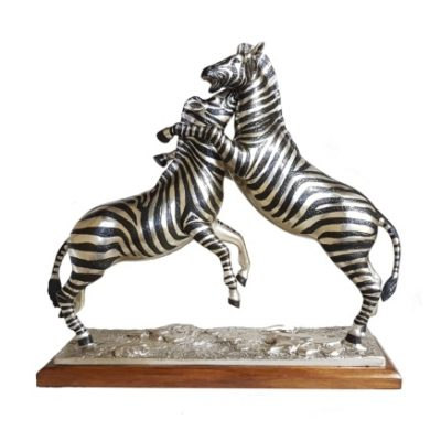 Zebras Fighting - silver