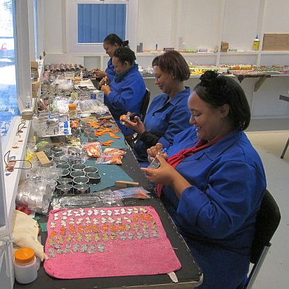 Ostrich jewellery manufacturing room