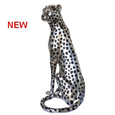 silver cheetah sculpture