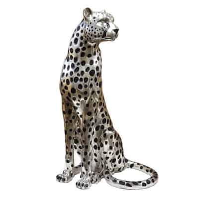 Cheetah sitting sculpture