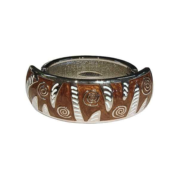 hinged metal bangle in brown and white baked enamel
