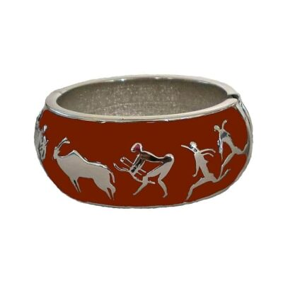 red and silver baked enamel bushman bangle