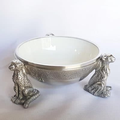 white cheetah snack bowl